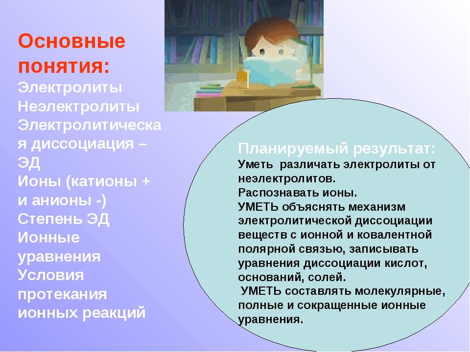 Основные понятия: Электролиты Неэлектролиты Электролитическая диссоциация – Э...