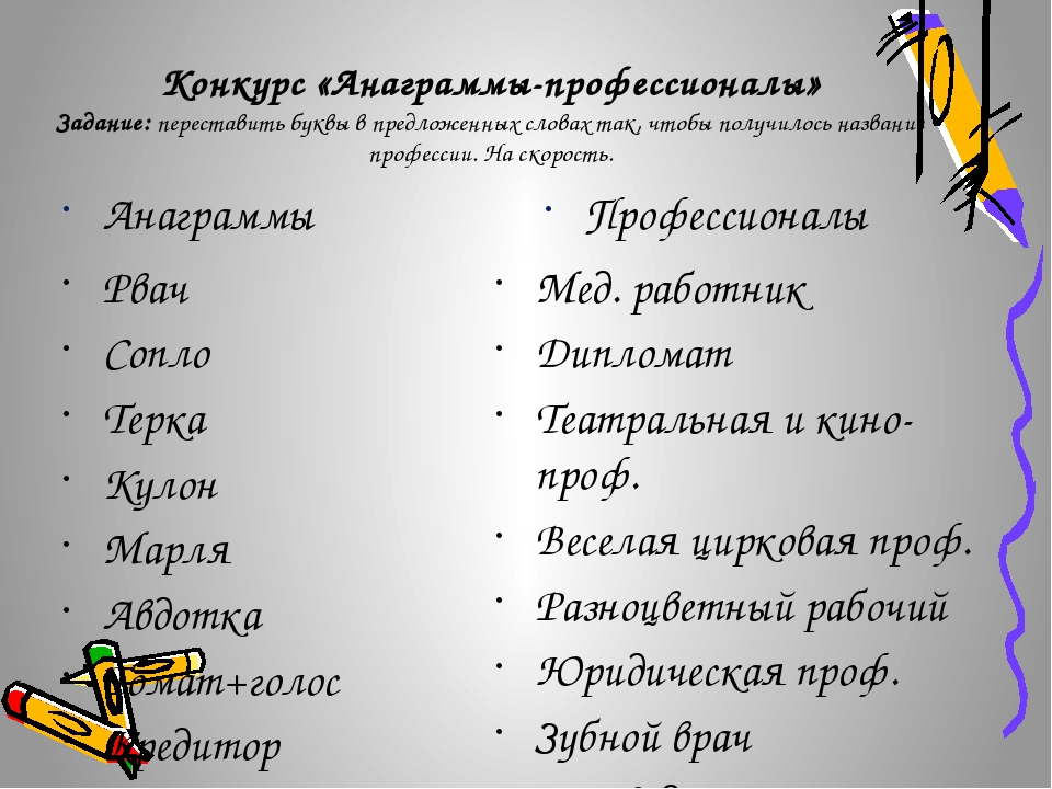 Конкурс «Анаграммы-профессионалы» Задание: переставить буквы в предложенных с...