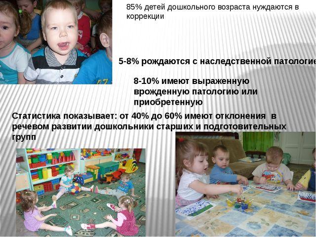 85% детей дошкольного возраста нуждаются в коррекции 5-8% рождаются с наследс...