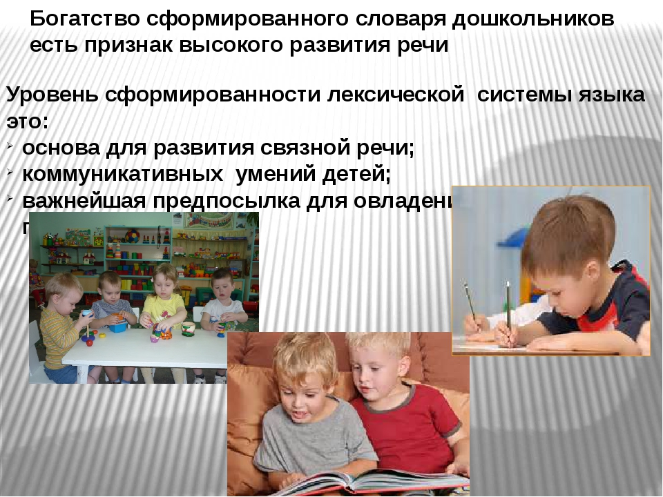Богатство сформированного словаря дошкольников есть признак высокого развития...