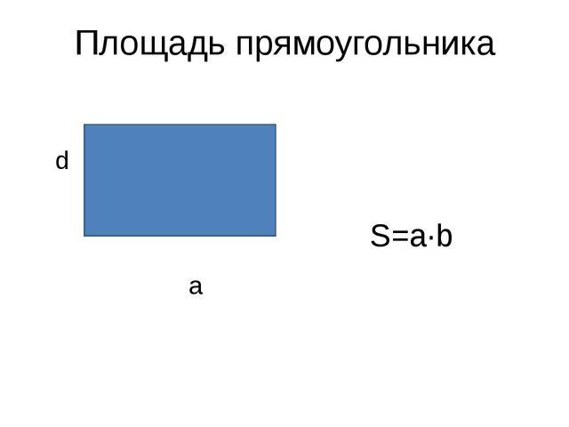 Площадь прямоугольника d а S=a·b