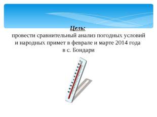 Цель: провести сравнительный анализ погодных условий и народных примет в фев
