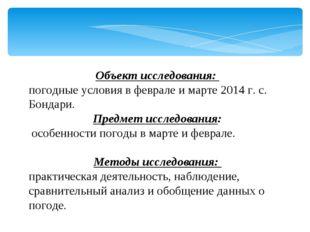 Объект исследования: погодные условия в феврале и марте 2014 г. с. Бондари.