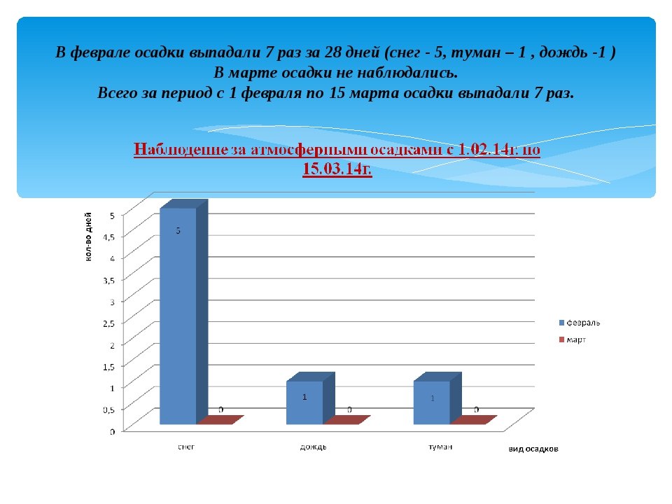 В феврале осадки выпадали 7 раз за 28 дней (снег - 5, туман – 1 , дождь -1 )...