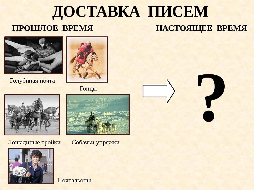 ДОСТАВКА ПИСЕМ ПРОШЛОЕ ВРЕМЯ НАСТОЯЩЕЕ ВРЕМЯ Голубиная почта Собачьи упряжки...