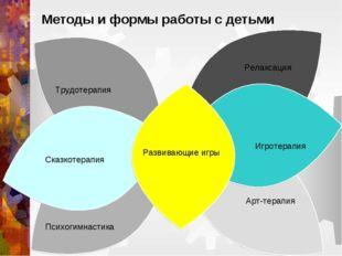 Методы и формы работы с детьми Релаксация Психогимнастика Арт-терапия Трудоте