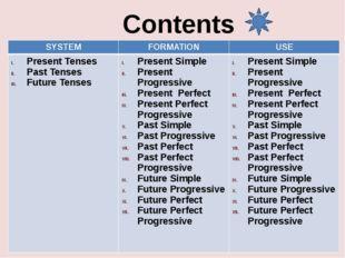 Contents SYSTEM FORMATION USE Present Tenses Past Tenses Future Tenses Presen