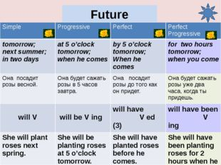 Future Perfect Progressive She will have been planting roses for 2 hours befo