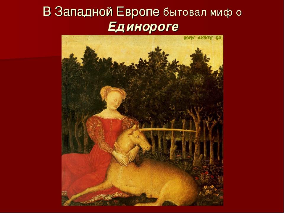 В Западной Европе бытовал миф о Единороге