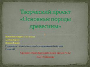 Выполнили учащиеся 7 «Б» класса Аксёнов Кирилл Новиков Кирилл Руководитель –