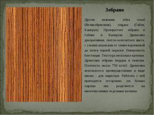 Зебрано Другие названия: zebra wood (Великобритания), zingana (Габон, Камерун