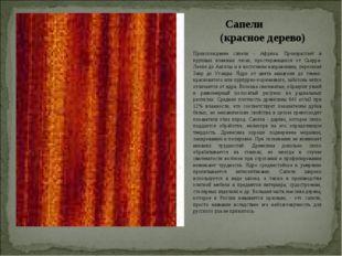 Сапели (красное дерево) Происхождение сапели - Африка. Произрастает в крупных