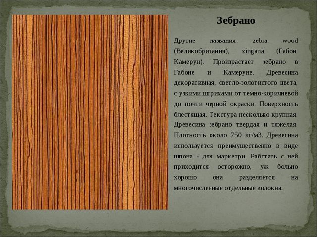 Зебрано Другие названия: zebra wood (Великобритания), zingana (Габон, Камерун...