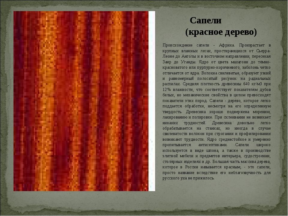 Сапели (красное дерево) Происхождение сапели - Африка. Произрастает в крупных...