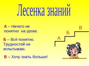 А Б В А – Ничего не понятно на уроке. Б – Всё понятно. Трудностей не испытыва