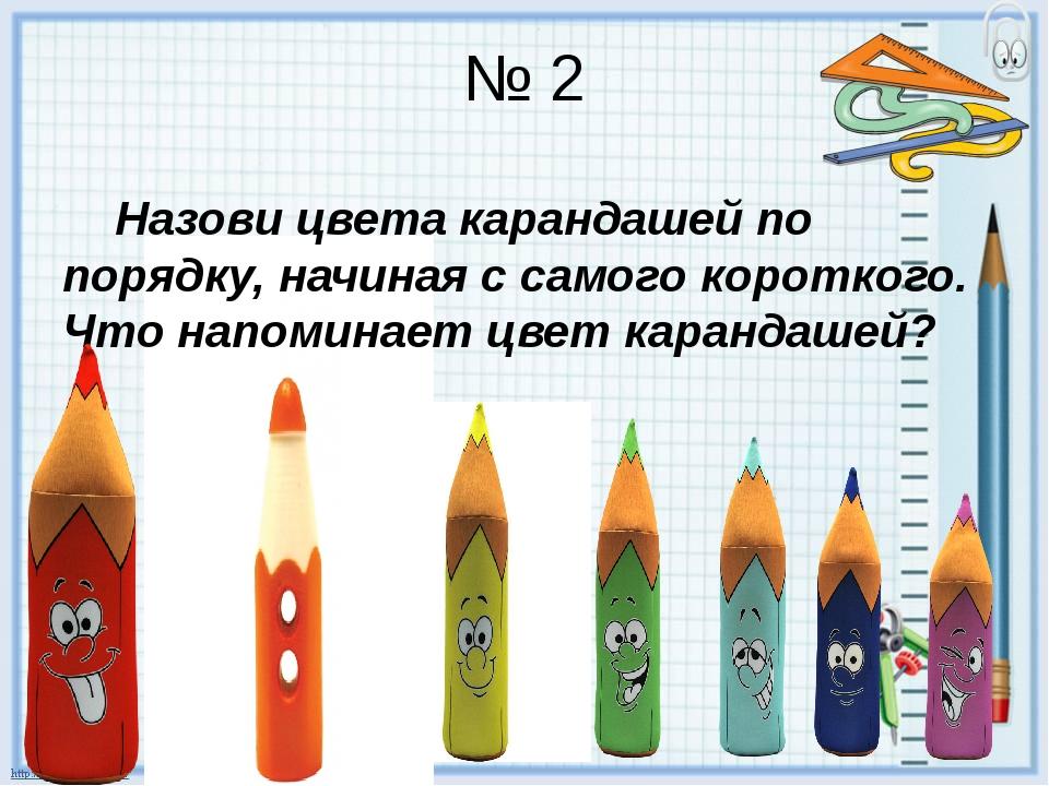 № 2 Назови цвета карандашей по порядку, начиная с самого короткого. Что напом...