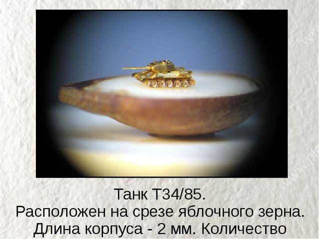 Танк Т34/85. Расположен на срезе яблочного зерна. Длина корпуса - 2 мм. Колич...