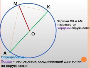 М К А О Отрезки МК и АМ называются хордами окружности. Определение: Хорда – э