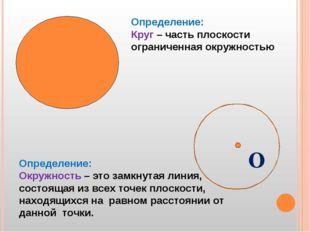 О Определение: Окружность – это замкнутая линия, состоящая из всех точек пло