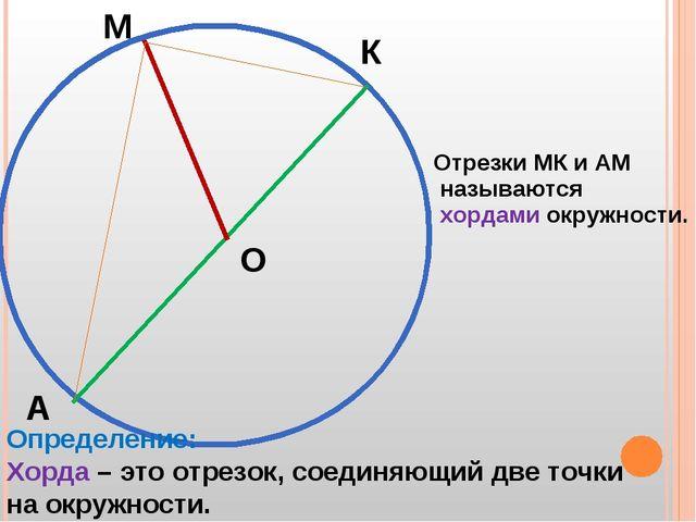 М К А О Отрезки МК и АМ называются хордами окружности. Определение: Хорда – э...