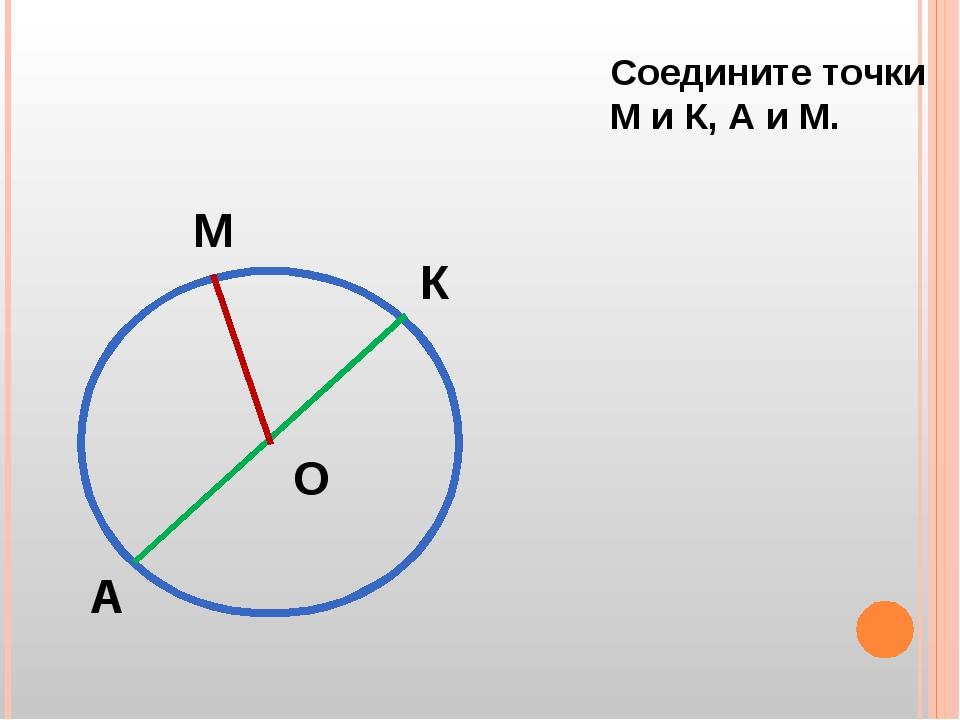 М К А О Соедините точки М и К, А и М.