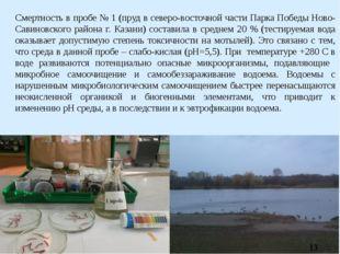 Смертность в пробе № 1 (пруд в северо-восточной части Парка Победы Ново-Савин