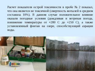 Расчет показателя острой токсичности в пробе № 2 показал, что она является не