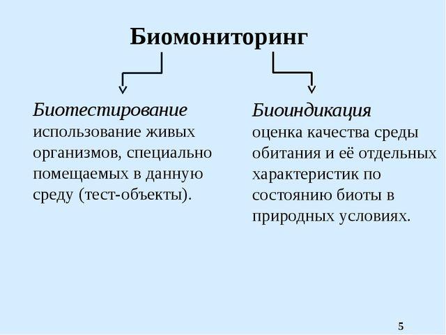 Биомониторинг Биотестирование использование живых организмов, специально поме...