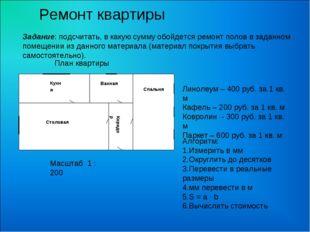 Кухня Ванная Спальня Коридор Столовая Масштаб 1 : 200 Линолеум – 400 руб. за