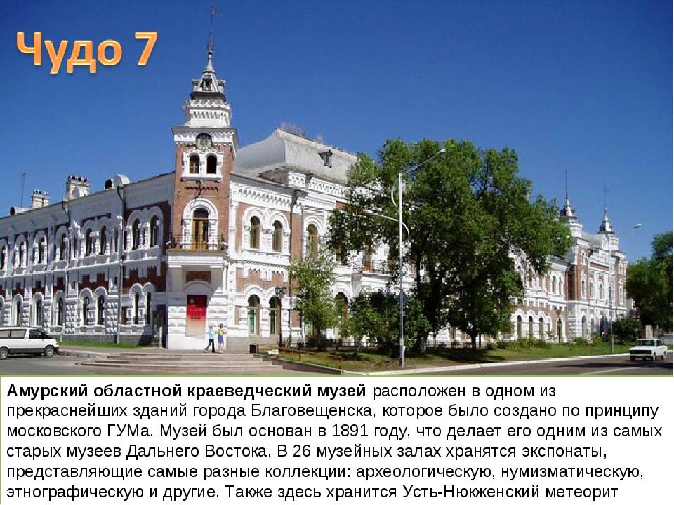 Амурский областной краеведческий музей расположен в одном из прекраснейших зд...