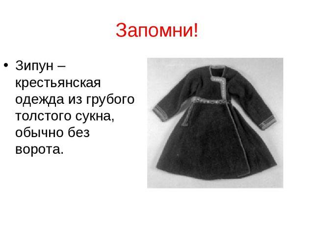 Запомни! Зипун – крестьянская одежда из грубого толстого сукна, обычно без во...