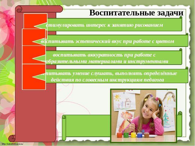 Воспитательные задачи стимулировать интерес к занятию рисованием воспитывать...