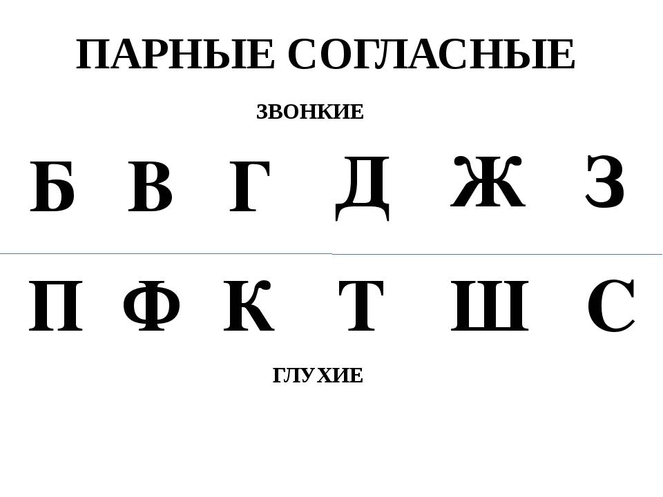 ПАРНЫЕ СОГЛАСНЫЕ Б П В Ф Г К Д Т Ж Ш З С ЗВОНКИЕ ГЛУХИЕ