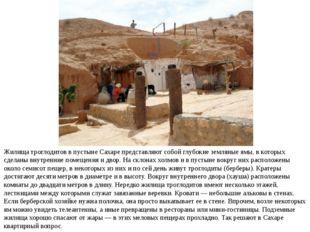 Жилища троглодитов в пустыне Сахаре представляют собой глубокие земляные ямы,