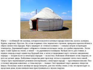 Юрты — особенный тип жилища, которым пользуются кочевые народы (монголы, каза