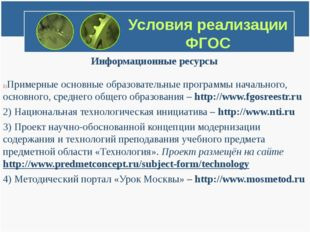 Условия реализации ФГОС Информационные ресурсы Примерные основные образовател