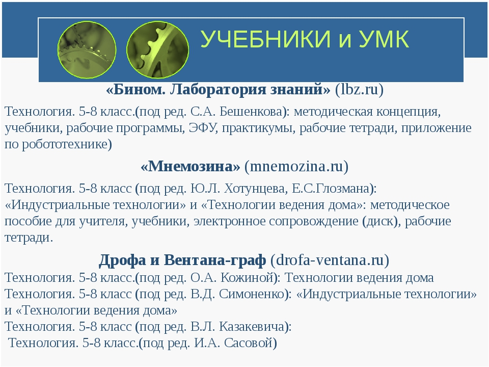 УЧЕБНИКИ и УМК «Бином. Лаборатория знаний» (lbz.ru) Технология. 5-8 класс.(по...