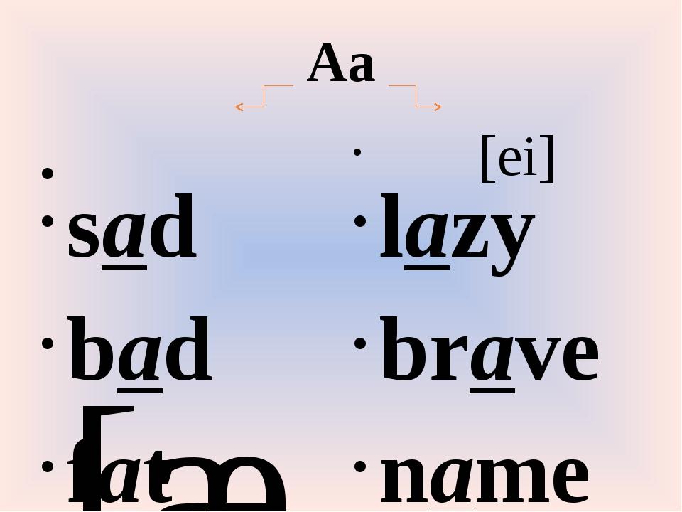 Aa [æ] sad bad fat [ei] lazy brave name