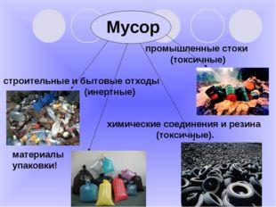 Мусор строительные и бытовые отходы (инертные) промышленные стоки (токсичные)