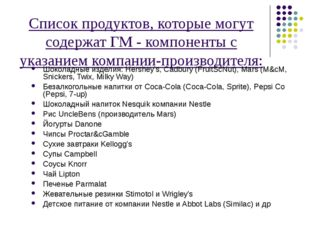 Список продуктов, которые могут содержат ГМ - компоненты с указанием компании