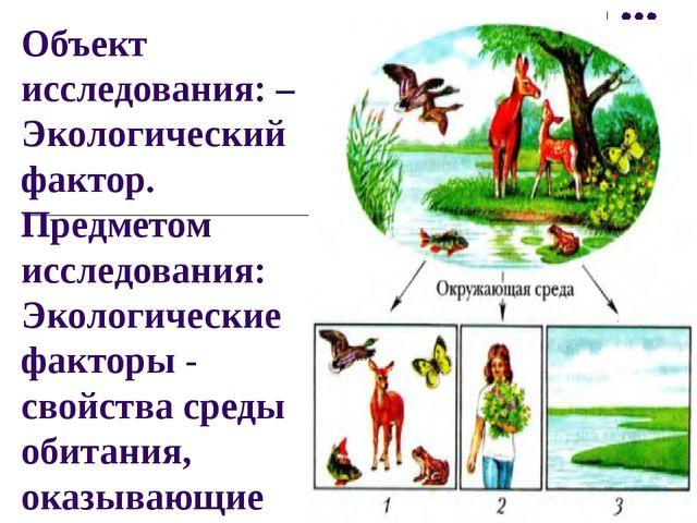 Объект исследования: – Экологический фактор. Предметом исследования: Экологич...