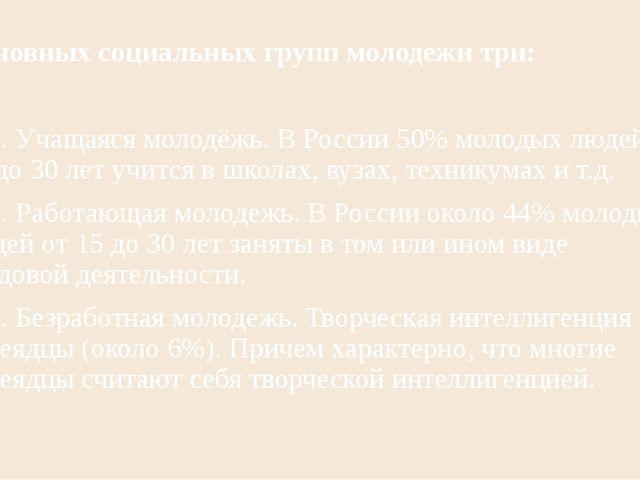 Основных социальных групп молодежи три: 1. Учащаяся молодёжь. В России 50% мо...