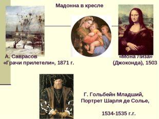 Мадонна в кресле А. Саврасов «Мона Лиза» «Грачи прилетели», 1871 г. (Джоконд