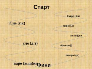 Сне (г,к) сле (д,т) варе (ж,ш)ки следы лы (ж,ш) гра (д,т) фла (г, к) Сугро (