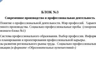 БЛОК №3 Современное производство и профессиональная деятельность 5-8 кл. Поня