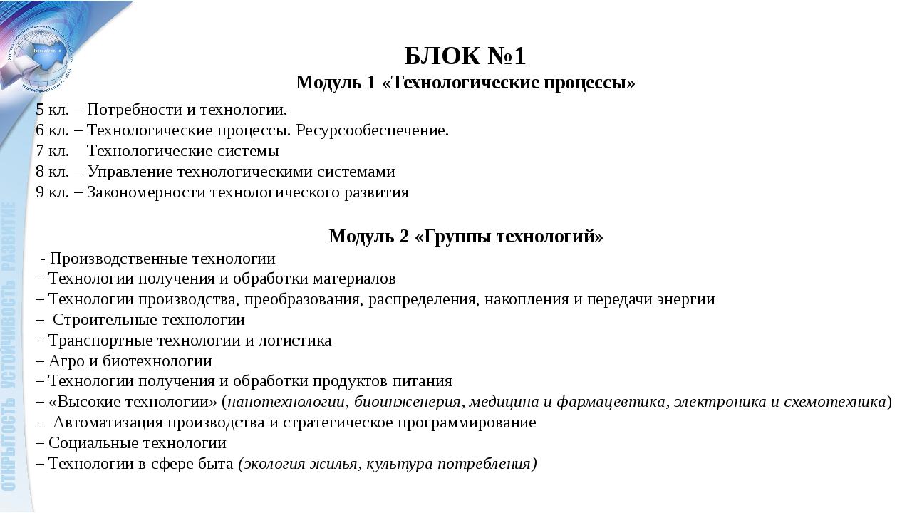 БЛОК №1 Модуль 1 «Технологические процессы» 5 кл. – Потребности и технологии....