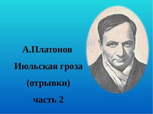 А.Платонов  Июльская гроза (отрывки) часть 2