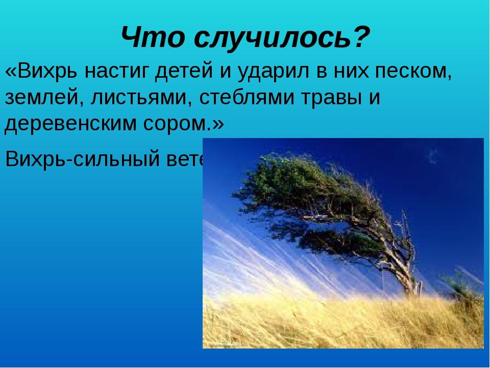 Что случилось? «Вихрь настиг детей и ударил в них песком, землей, листьями,...