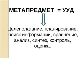 МЕТАПРЕДМЕТ = УУД Целеполагание, планирование, поиск информации, сравнение, а