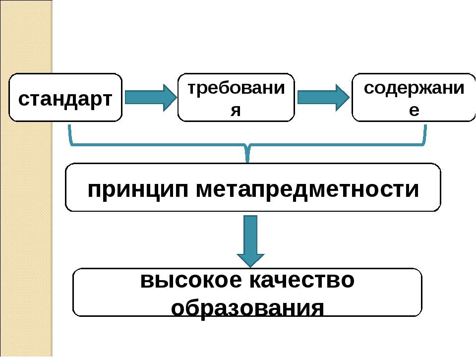 стандарт требования содержание принцип метапредметности высокое качество обра...